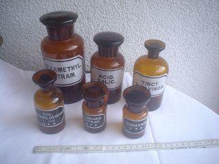 6 Alte Arzt Oder Apotheker Glas Flaschen 9 - 18 Cm Nr.  2 Bild