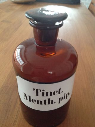 Alte Apotheker Glas - Flasche Tinct.  Menth.  Pip 1000 Ml Bild