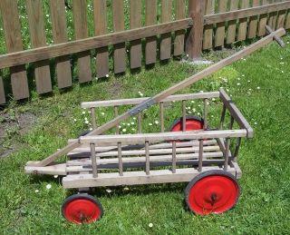 Antiker Kleiner Holz Bollerwagen - Handwagen - Leiterwagen Für Kinder Bild