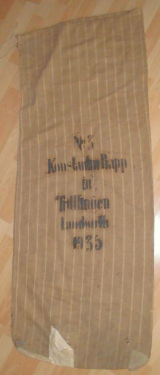 Leinensack Sack Alt Getreidesack Dat.  1935 Antik Mehlsack Top Winter Herbst Deko Bild