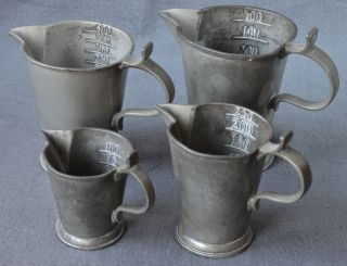 Apothekengefäß,  4 Alte Messbecher Aus Zinn,  100 - 500ml Bild