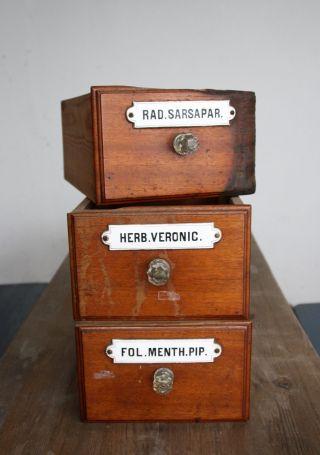 3 Antike Schublade,  Apothekerschublade,  Alter Schubkasten Bild