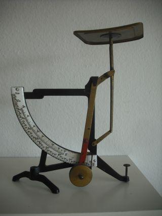 Alte Große Brief Waage Pendel Feinwaage Umschlagwaage Gewichtsskala Aus Emaille Bild