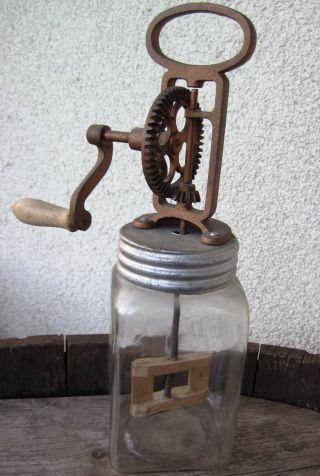 Alte Buttermaschine,  Glas,  1 Liter Bild