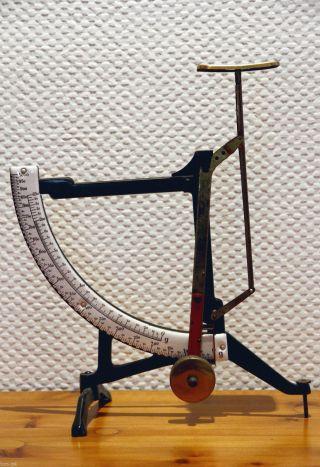 Antike Briefwaage,  Emailleskala,  Wechselgewicht 0 - 250 Gramm Und 0 - 1000 Gramm Bild