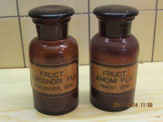 2 Braune Breithals Apothekerflaschen 500 Ml Piment Koreander Bild