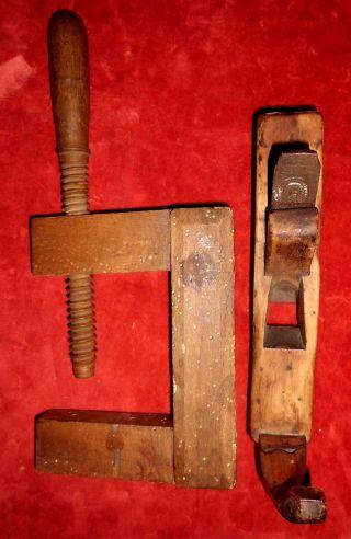 Antiker Holzbohrer Und Holz - Schraubzwinge,  Ca.  100 Jahre Alt Bild