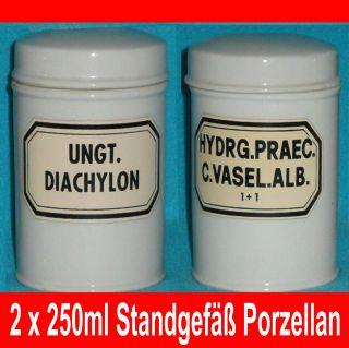 2 Standgefässe Porzellan Weiss Porzellandeckel Salbengefäss Alt Aus Apotheke Bild