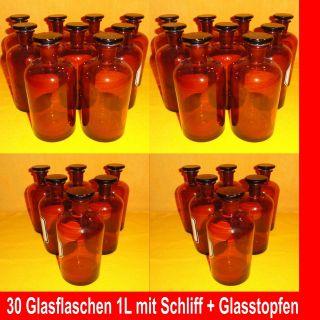 30x Glasflasche 1l Braunglas Glasstopfen Schliff Glasgefäss - Alt Aus Apotheke Bild