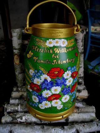 Milchkanne,  20 - L.  Handbemalt - Blumen - Mohn - Kornblumen - Getreide/name - Bodenvase Bild