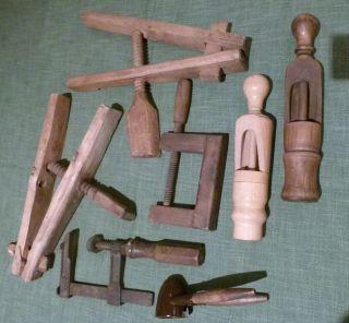 Alt 7 St.  Holz - Werkzeug Presse Holzpresse Schraubzwinge Holzzwinge Holzverkorker Bild