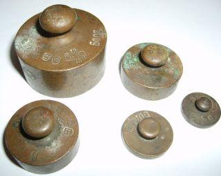 Alte Antike Gewichte,  Mit Eich Stempel Und Punzen,  5 Stück,  Ansehen Bild