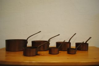 7 Kupfer Stilpfannen Um 1930 Schöne Patina Bild