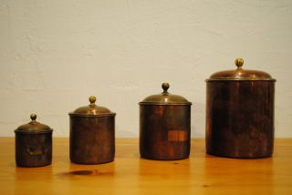 4 Apotheker Kräuter Kupferdosen Um 1920 Schöne Patina Bild