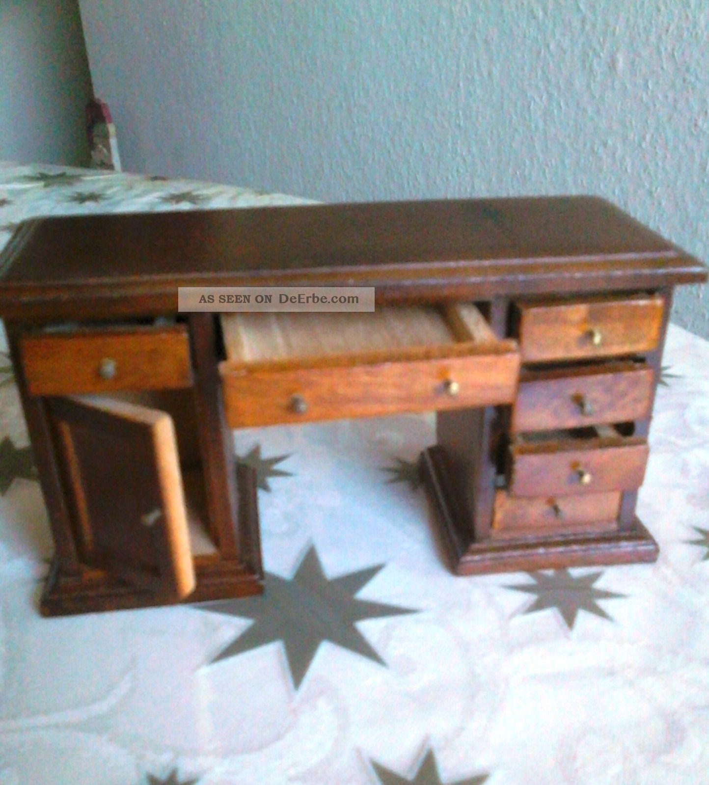 Puppenstuben schreibtisch holz antiker stil mit for Schreibtisch holz mit schubladen