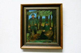 Öl Auf Malpappe,  3 Jäger Mit Erlegten Hirsch,  Aus Galerie Luxor Evg Chemnitz Bild