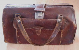 Seltene Alte Arzttasche,  Hebamentasche,  Ledertasche Aufarbeiten Lohnt Bild