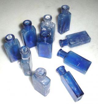 10 Apothekerflaschen Apotheke Arznei Flasche Apothekengefäß Glas Blau Um 1900 Bild