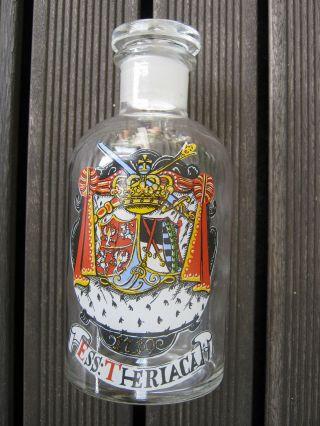 Apothekerflasche Ess: Theriaca Antik Glas Klar Mit Motiv Glasflasche Apotheke Bild