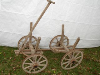 Uralter Holz - Leiterwagen Handwagen Ausziehbar Im Bild