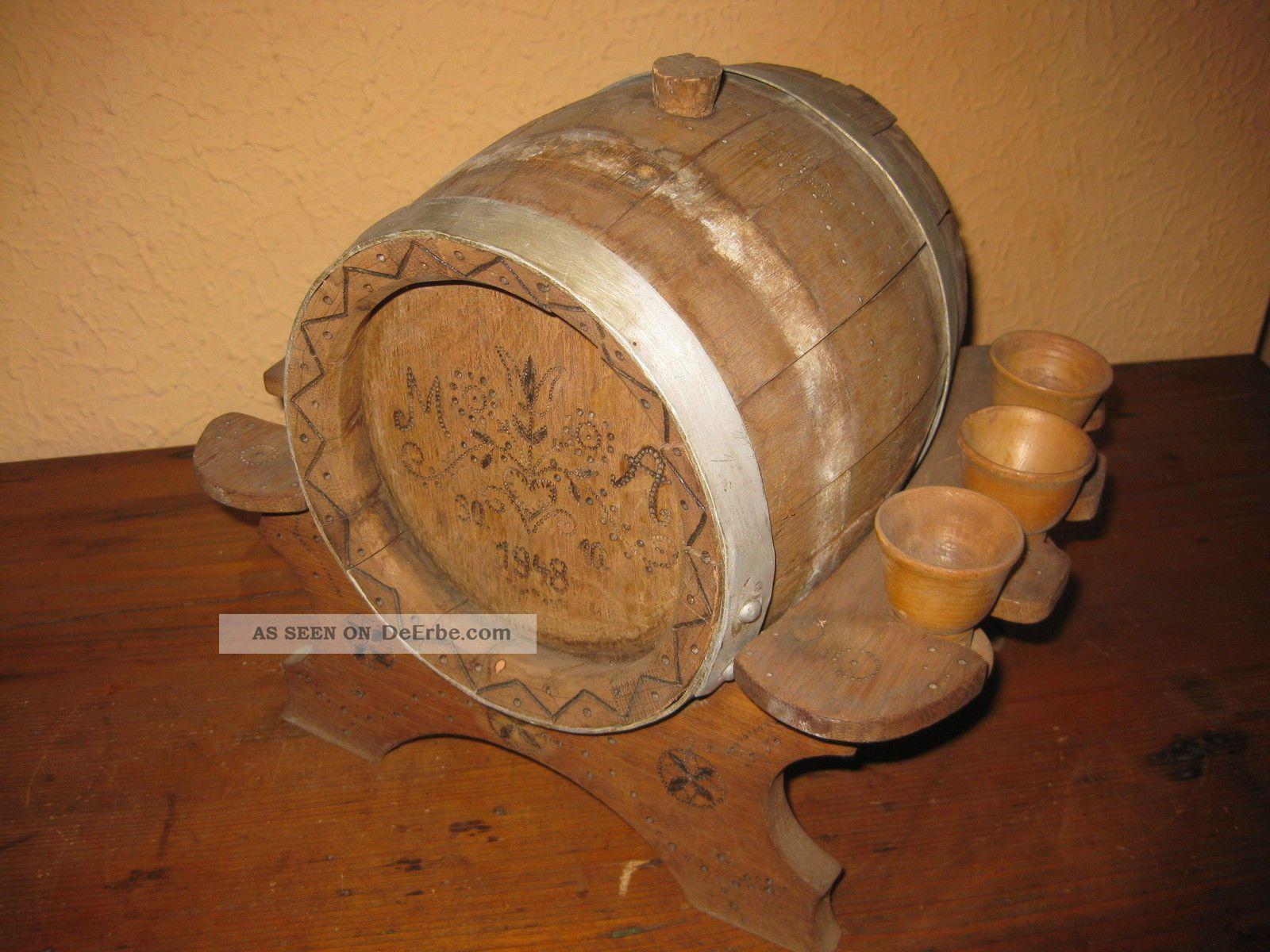 Kleines Altes Likörfass Holz Wein Bier Fass Eichenfass Ständer 1940er Selten Bauer Bild