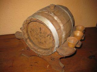 Kleines Altes Likörfass Holz Wein Bier Fass Eichenfass Ständer 1940er Selten Bild
