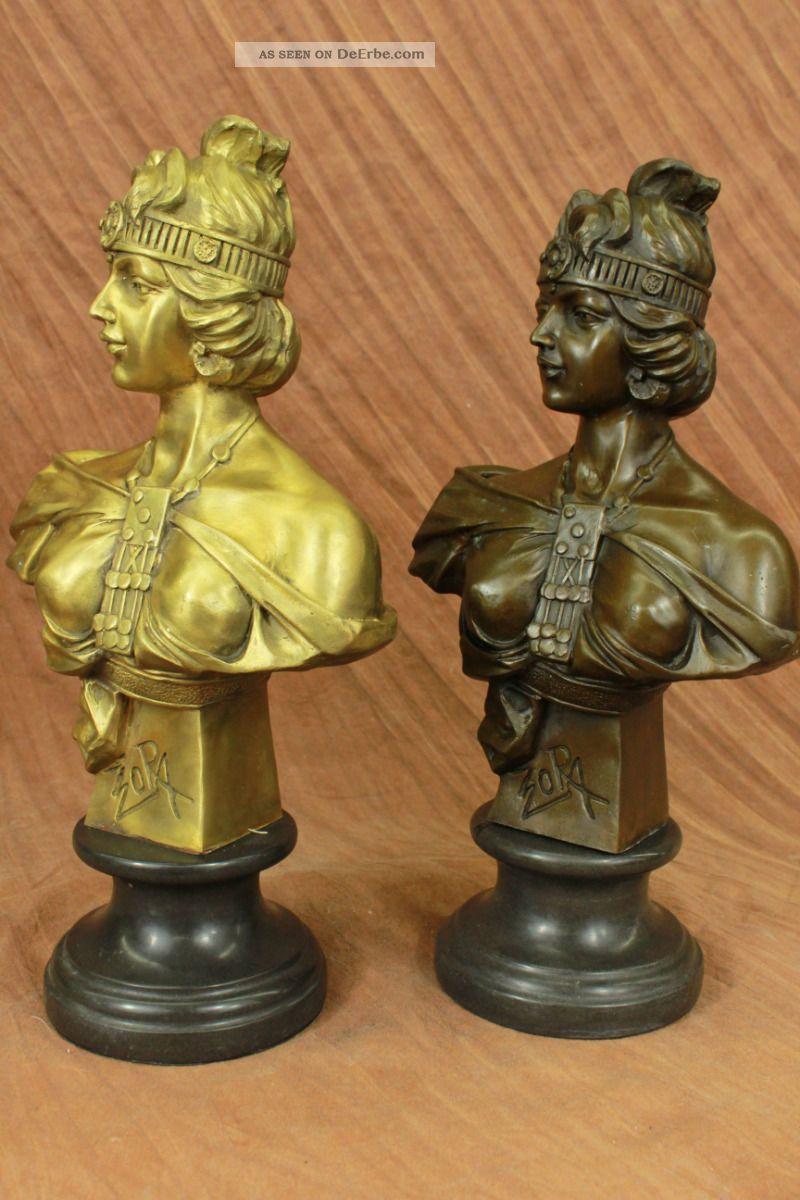 Vikorianische Frauen Büste Selten 19.  Jahrhundert Bronze Paar Bücherstützen Antike Bild