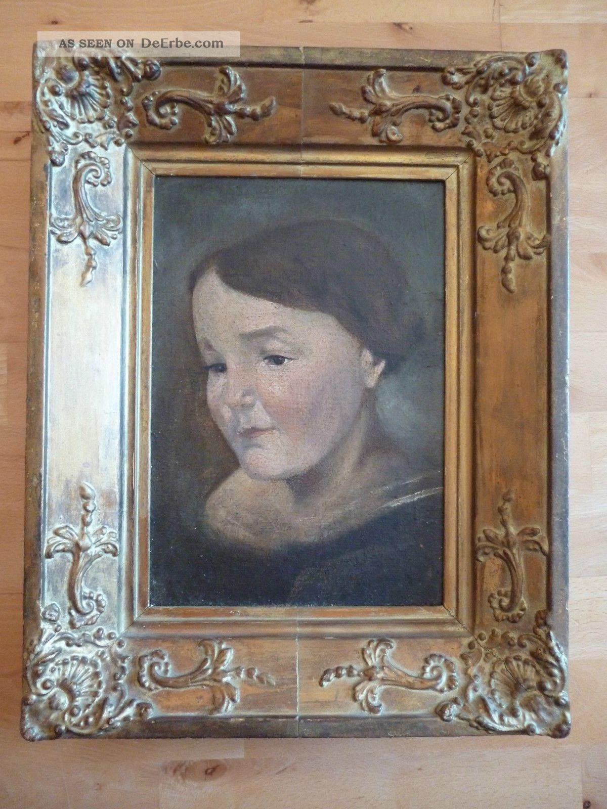 Altes Gemälde - Ölgemälde - Porträt Einer Frau - Biedermeier ? - Holzrahmen Antike Bild