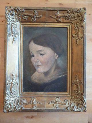 Altes Gemälde - Ölgemälde - Porträt Einer Frau - Biedermeier ? - Holzrahmen Bild