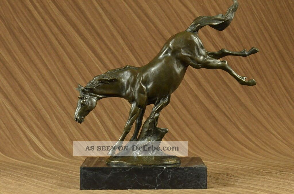 Züchtung Des Pferds Bronze Groß Sculpture Modern Art Marmor Basis Antike Bild