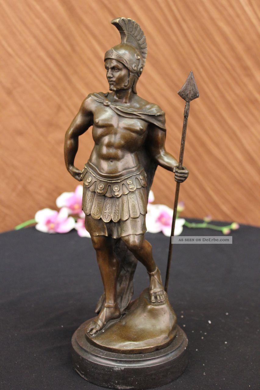 Vintage Signierte Bronzestatue Ritter Figur Dalou - Deko Kunst Plastik Antike Bild