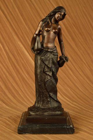 Oben - Ohne - Statue Frau Mit Zwei Krügen Bronzeskulptur Art Deco Marmorbasis Bild