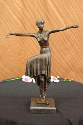 Skulptur Türkische Tänzerin Von Chiparus Art Nouveau Marmorsockel Heißguss Figur Bild
