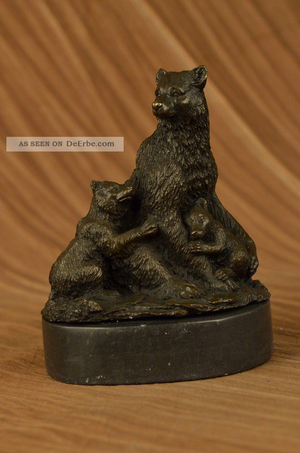 Signiert Grizzlybär Mit Zwei Jungen Bronze Skulptur Statue Figur Antike Bild