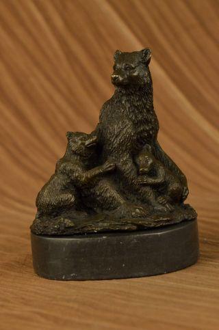 Signiert Grizzlybär Mit Zwei Jungen Bronze Skulptur Statue Figur Bild