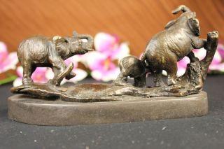 Bronze Skulptur Drei Elefanten Statue Dekor Tier Figur Bild