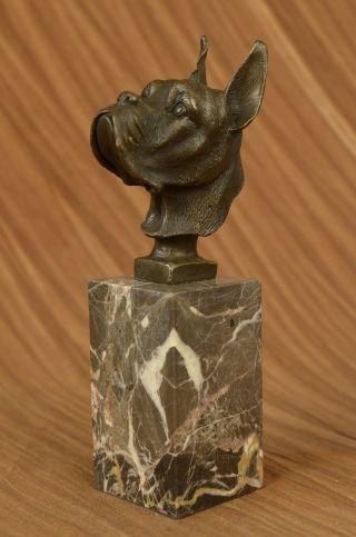 Deutsche Englisch Boxer Bulldog Bronzeskulptur Marmorsockel Kunst Statue Dekor Bild