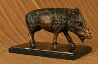 Bronzeskulptur Wild Eber Statue Von Barye Figur Farm Tier Wachsschmelz Deco Bild