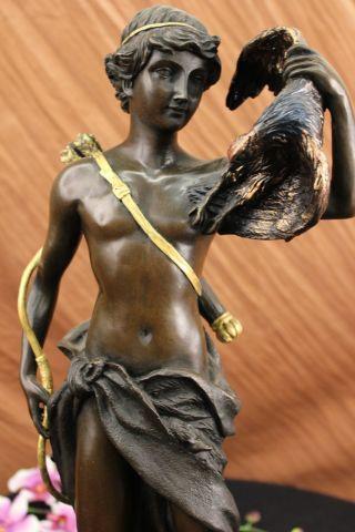 Bronze Skulptur Moreau Signiert Jäger Vogel Marmorsockel Figur Bild
