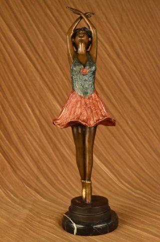 Bronze Skulptur Ballerina Tänzerin Groß Signiert Von Collettt Statue Kunst Deko Bild
