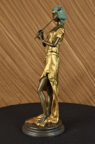 Sinnliche Fantasie Nacktes Mädchen Pan - Flötenspieler Art Bronze Marmor - Statue Bild