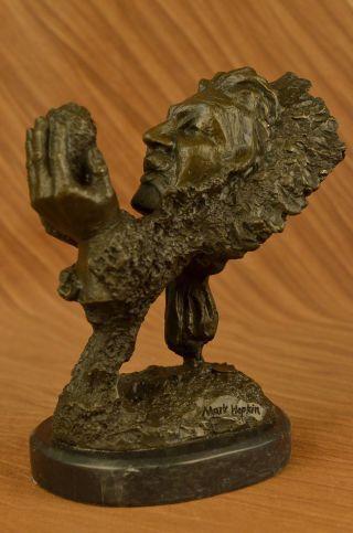 Bronze Skulptur Indianer Amerika Chief Hält Stein Deko Statue Bild