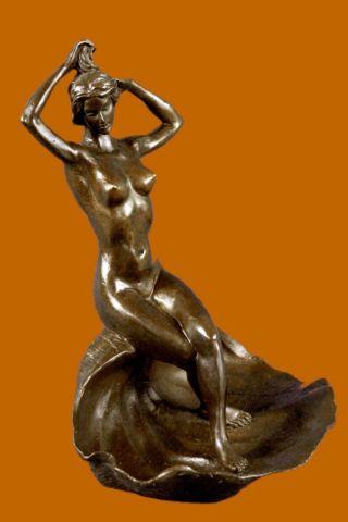 Bronze Skulptur Motiv Mädchen Auf Muschelschale Visitenkarten Halter - Brines Bild