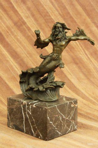 Bronze Skulptur Poseidon Oder Zeus Signiert - Kunst Figur Bild