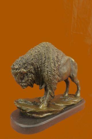 Bison Figur Massiv Laufender Büffel Western Kunst Decor Geschenk Extra Groß Bild