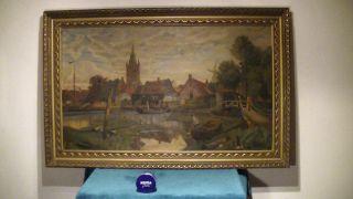 Sehr Grosses Ölgemälde,  138 Cm,  Ölbild Auf Holz,  Signiert,  Hafen Stadt Bild