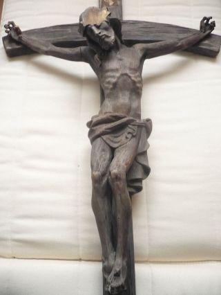 Geschnitzte Alte Holz Kruzifix Alt Kreuz Handgeschnitzt 105cm X52 Cm Bild