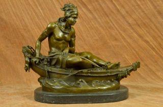Bronze Skulptur Statue Vintage Signiert Duchoisellei Indianer Grau Figur Kunst Bild