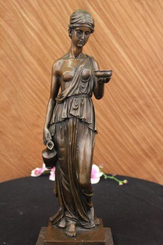 Skulptur Bronze Unterzeichnete Milo Junge Mädchen Mit Römischen Becher Wein Bild