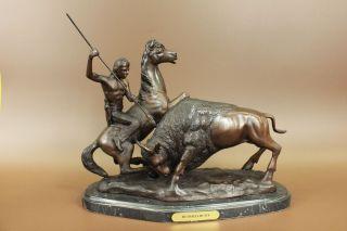 Skulptur Bronze Unterzeichnet Theodore Indianischen Jäger Büffel Bild